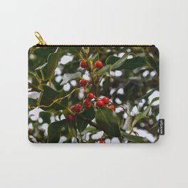 Holly Branch with Red Seeds Carry-All Pouch