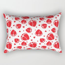 Baby Feet and Hearts Seamless Pattern in red color Rectangular Pillow