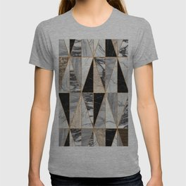 Marble Triangles - Black and White T-shirt