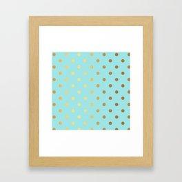 Gold polka dots on aqua background - Luxury turquoise pattern Framed Art Print