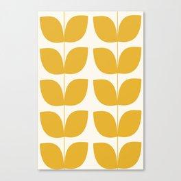 Mid Century Modern Leaves Yellow #society6 #buyart  Canvas Print