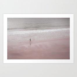 Walking on a pink beach Art Print