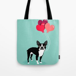 Boston Terrier Valentine heart balloons for pet owners and dog lovers gift for someone they love Tote Bag