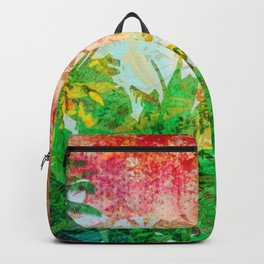 Sunset Jungle Tropical Palm Leaves Backpack