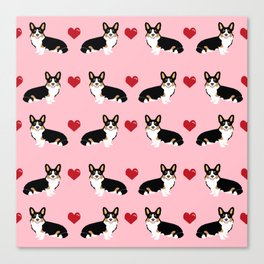 Corgi tri colored welsh corgi dog person corgis love valentines day gifts for dog person Canvas Print