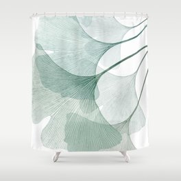 Teal Ginkgo Leaves Shower Curtain