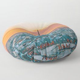 Sunset in Paris (Color) Floor Pillow