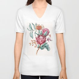 King protea flowers watercolor illustration Unisex V-Neck