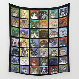 Cats and Dogs in Black Wall Tapestry