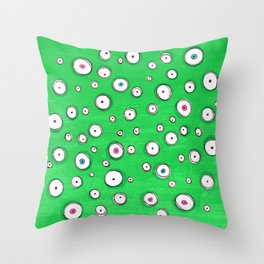 All Eyes on You - Green Throw Pillow