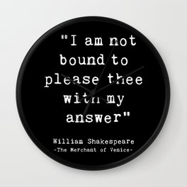 Shakespeare quote philosophy typography black white Wall Clock