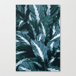 Blue Green Tropical Jungle Night Leaves #1 #tropical #decor #art #society6 Canvas Print