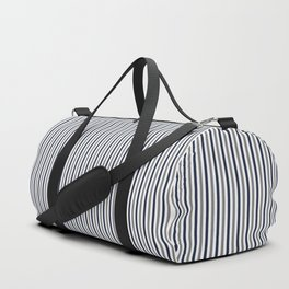 Navy White And Grey Vertical Stripes Duffle Bag