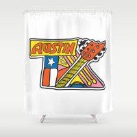 austin Shower Curtains featuring Austin TX by Brandon Ortwein