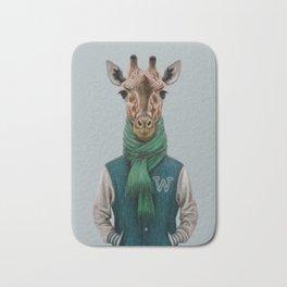 the giraffe in jacket. Bath Mat