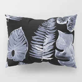 Jungle Leaves Botanicals in Black and White Pillow Sham