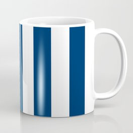 Cool black blue - solid color - white vertical lines pattern Coffee Mug