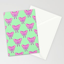 Luna Moth Butterfly Pink Ombre and Mint Stationery Cards