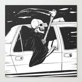 Passenger taxi grim - black and white - gothic reaper Canvas Print