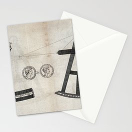 Illustrations of a sextant and its cursor in detail (1791) Stationery Cards
