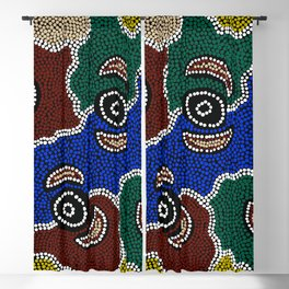 Authentic Aboriginal Art - Riverside Dreaming Blackout Curtain