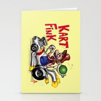 mario kart Stationery Cards featuring Kart Fink Big Bro! by Avedon Arcade