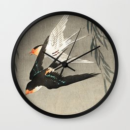 Red tailed swallows in flight - Japanese vintage woodblock print art Wall Clock