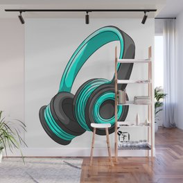 Blue and black headset Wall Mural