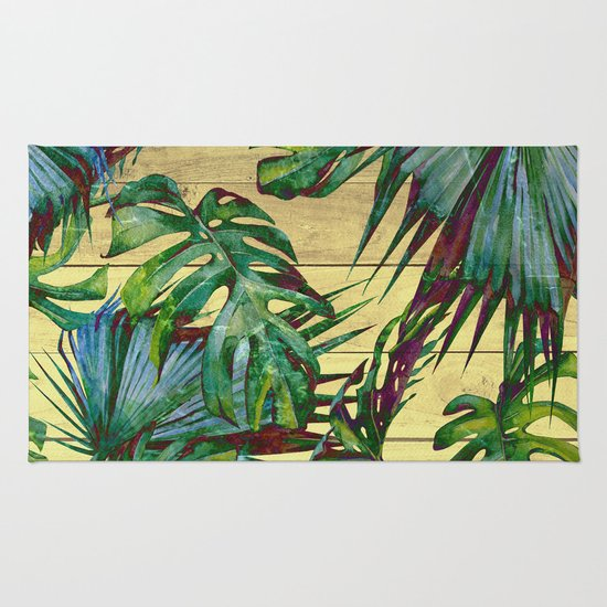 tropical palm leaves on wood rug by nature magick society6. Black Bedroom Furniture Sets. Home Design Ideas