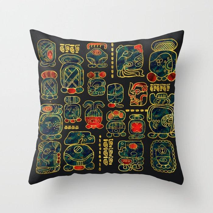 Maya Calendar Glyphs pattern Throw Pillow