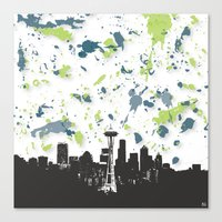seahawks Canvas Prints featuring Seahawks Seattle Skyline by Blythe Green