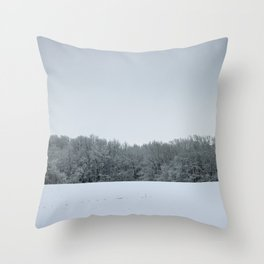 Winter Rural Landscape with Snowy Trees and Snow Throw Pillow