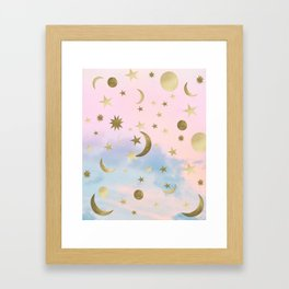 Pastel Starry Sky Moon Dream #1 #decor #art #society6 Framed Art Print