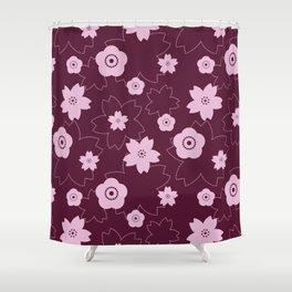 Sakura blossom - burgundy Shower Curtain