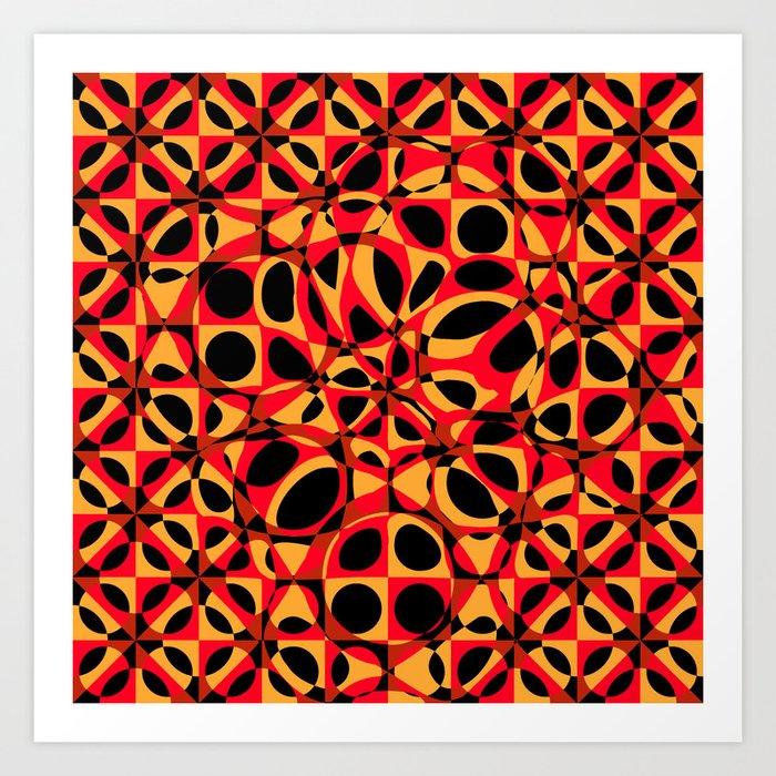 orange red circle pattern Art Print