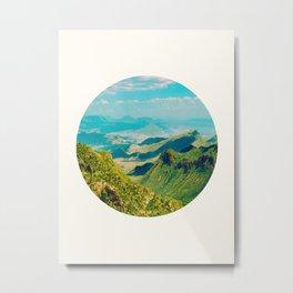 Mid Century Modern Round Circle Photo Graphic Design Vintage Pastel Green Mountain Valley Metal Print