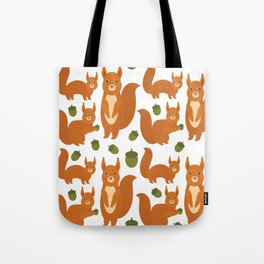 Seamless pattern Set of funny red squirrels with fluffy tail with acorn  on white background Tote Bag