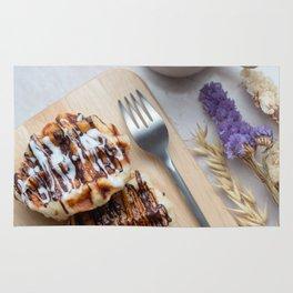 Waffles with black coffee Rug