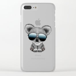 Cute Baby Koala Bear Wearing Sunglasses Clear iPhone Case