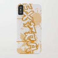 grafitti iPhone & iPod Cases featuring extra splash orange grafitti design by sleepwalkerMTS