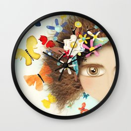 Doll Butterfly Balloons Afro Hair Flowers Wall Clock