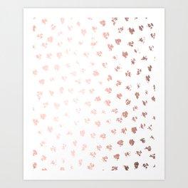 Rose Gold Pink Polka Splotch Dots on White Art Print