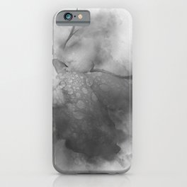 Trampled Rose Greyscale Manipulated Photo with Dew Drops iPhone Case