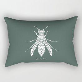 Honey Bee White on Green Background Rectangular Pillow