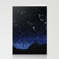 night sky Stationery Cards featuring Night sky by AhaC