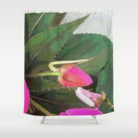 hot pink Shower Curtains featuring Hot Pink by Glenn Designs