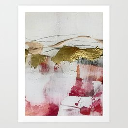 Untranslated Stars: a minimal, abstract piece in gold, pink, and white by Alyssa Hamilton Art Art Print