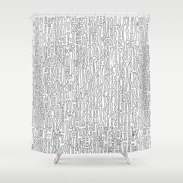 Black and White Skeleton Bone Pattern Shower Curtain