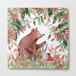 Art Watercolor, Cute, Bear and Forest Art Metal Print