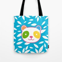 murakami Tote Bags featuring Rainbow Panda by XOOXOO